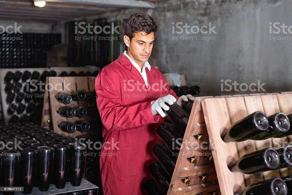 Man winery   working in aging section with bottle racks stock photo