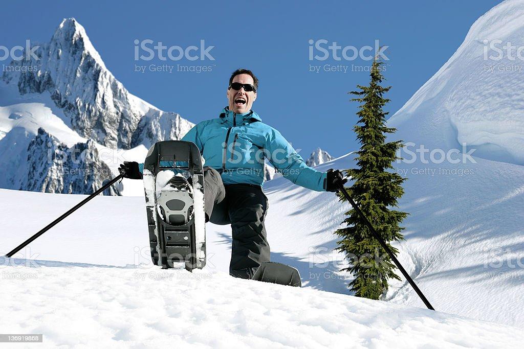 XXL man winter hiking royalty-free stock photo