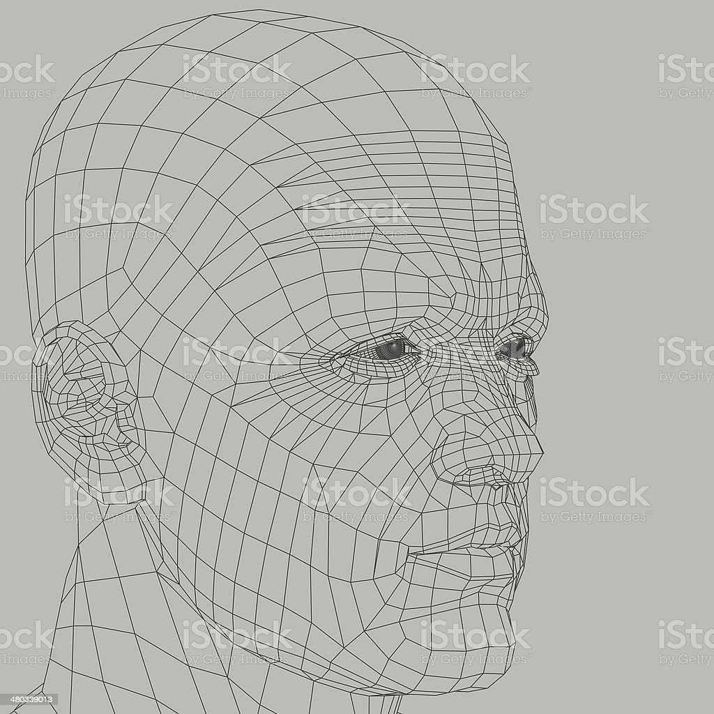 man wireframe illustration stock photo