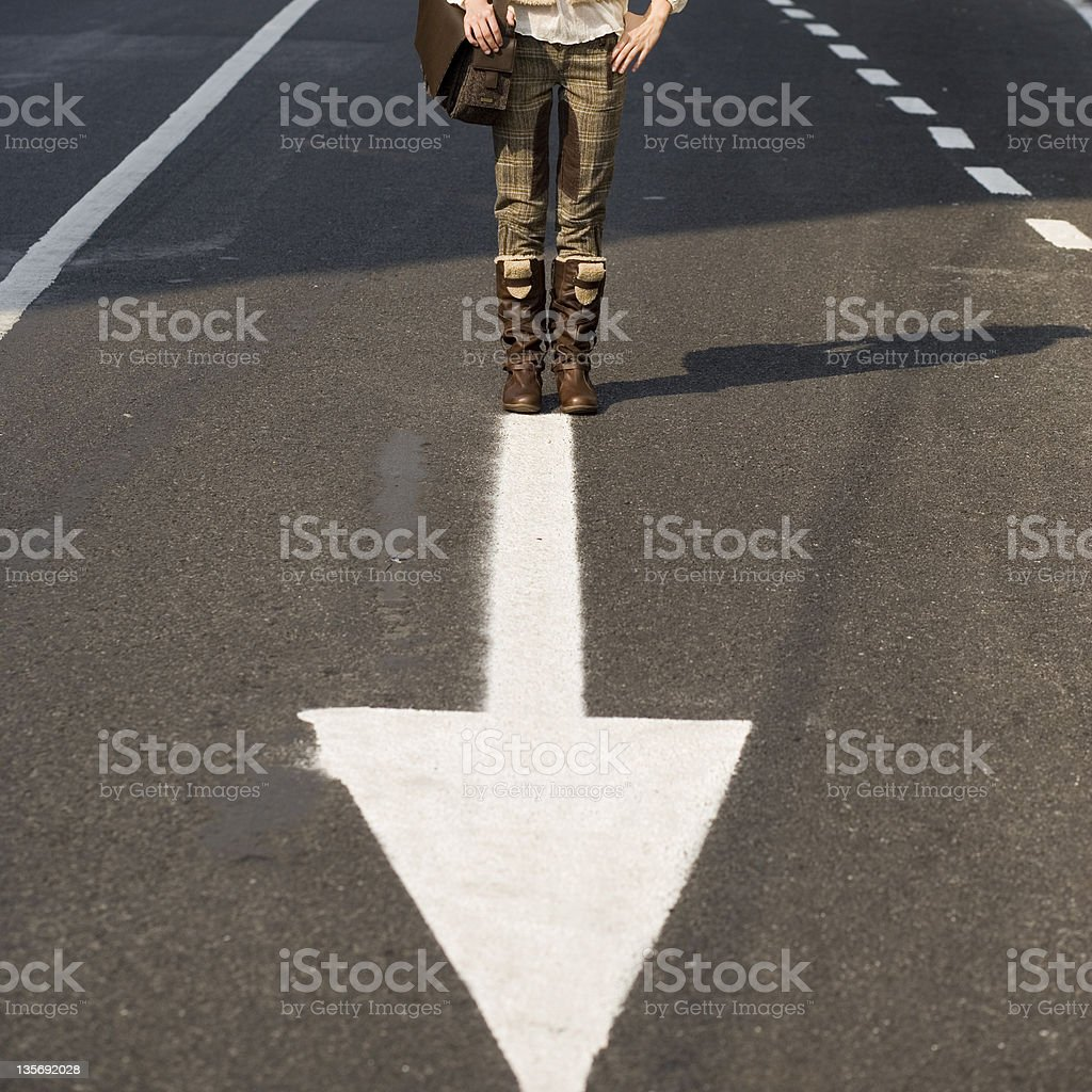 man with a arrow in front of him royalty-free stock photo