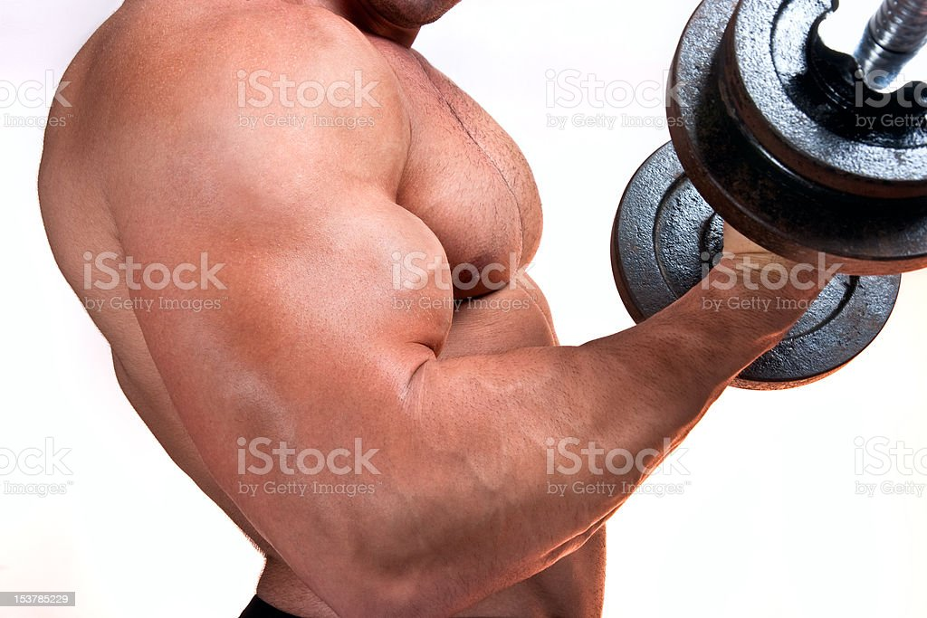 Man with a bar weights in hands training royalty-free stock photo