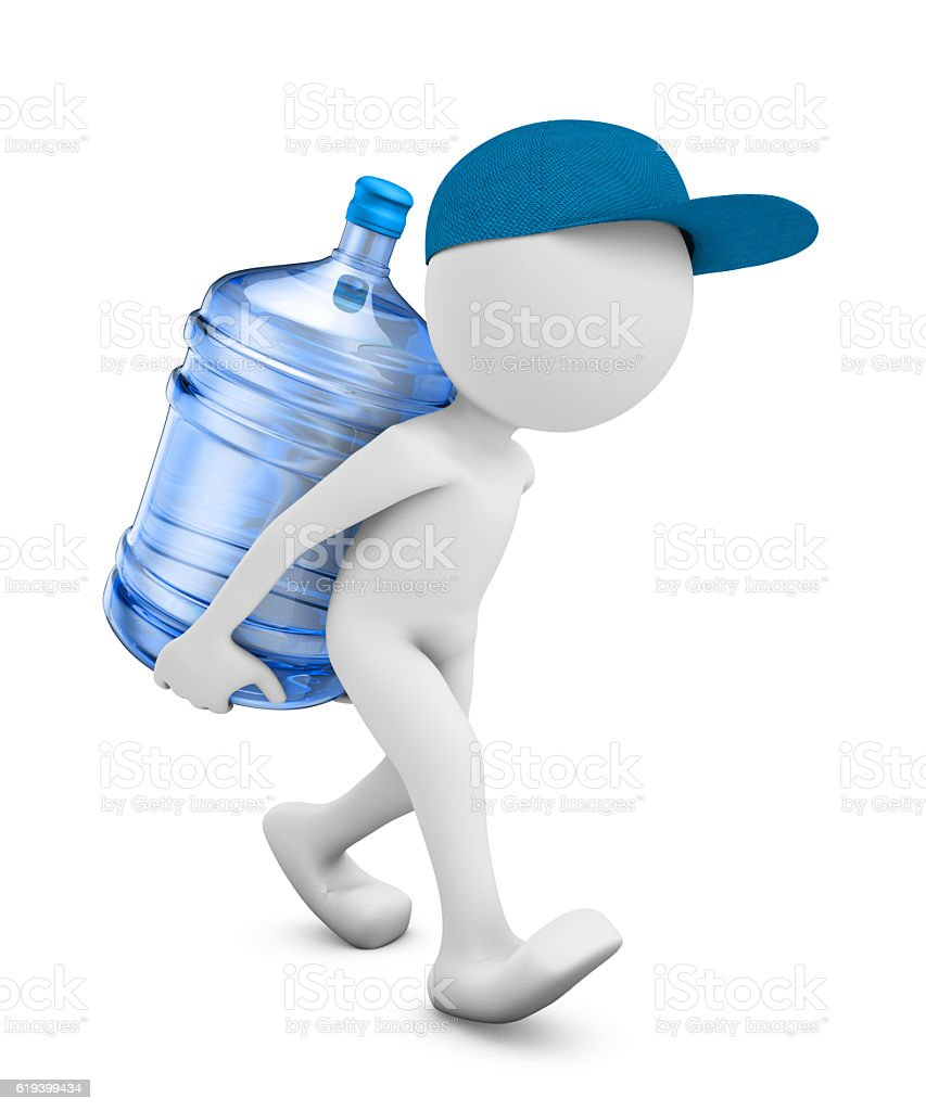 man with a bottle of purified water stock photo