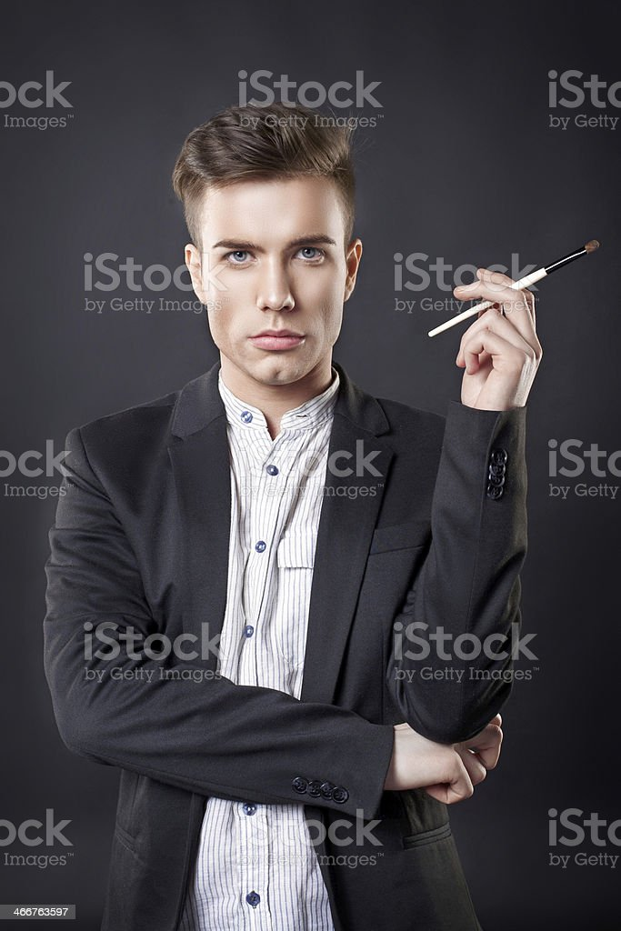Man with a brush. stock photo