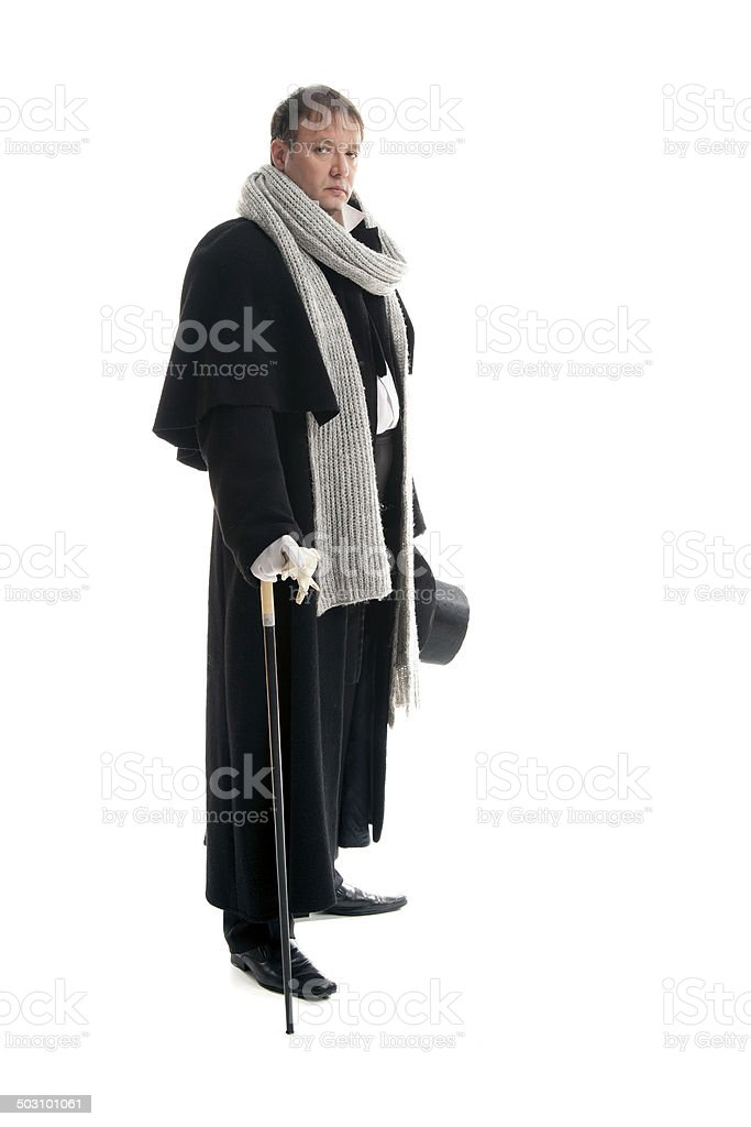 Man with a cane in a hand stock photo