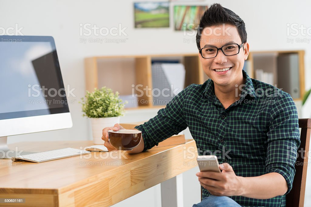 Man with a cellphone stock photo