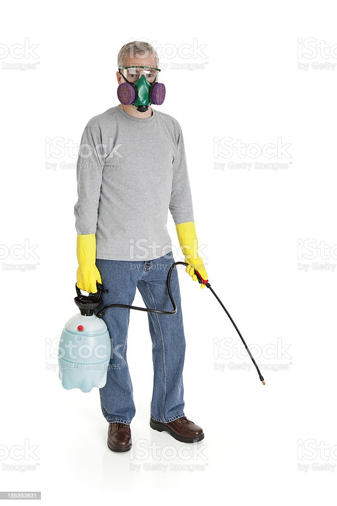 Man With a Chemical Sprayer stock photo