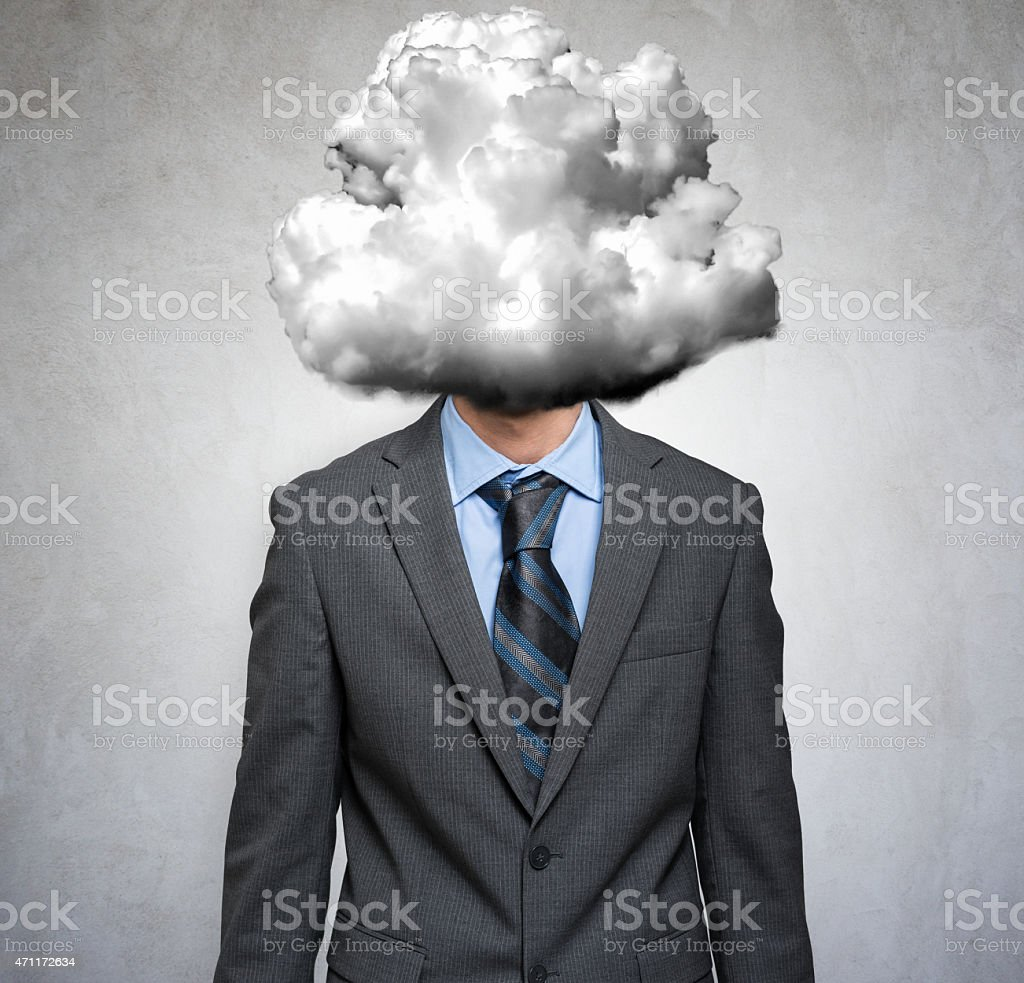 Man with a cloud instead of his head stock photo