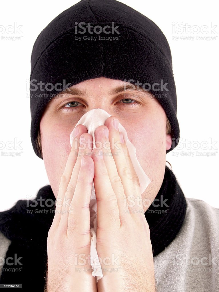 Man with a cold royalty-free stock photo