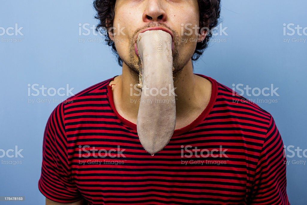 Man with a cow's tongue in his mouth royalty-free stock photo
