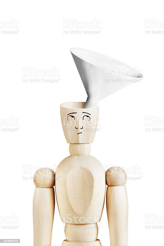 Man with a funnel in the empty head stock photo