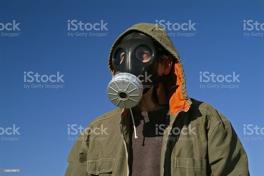 man with a gas mask royalty-free stock photo