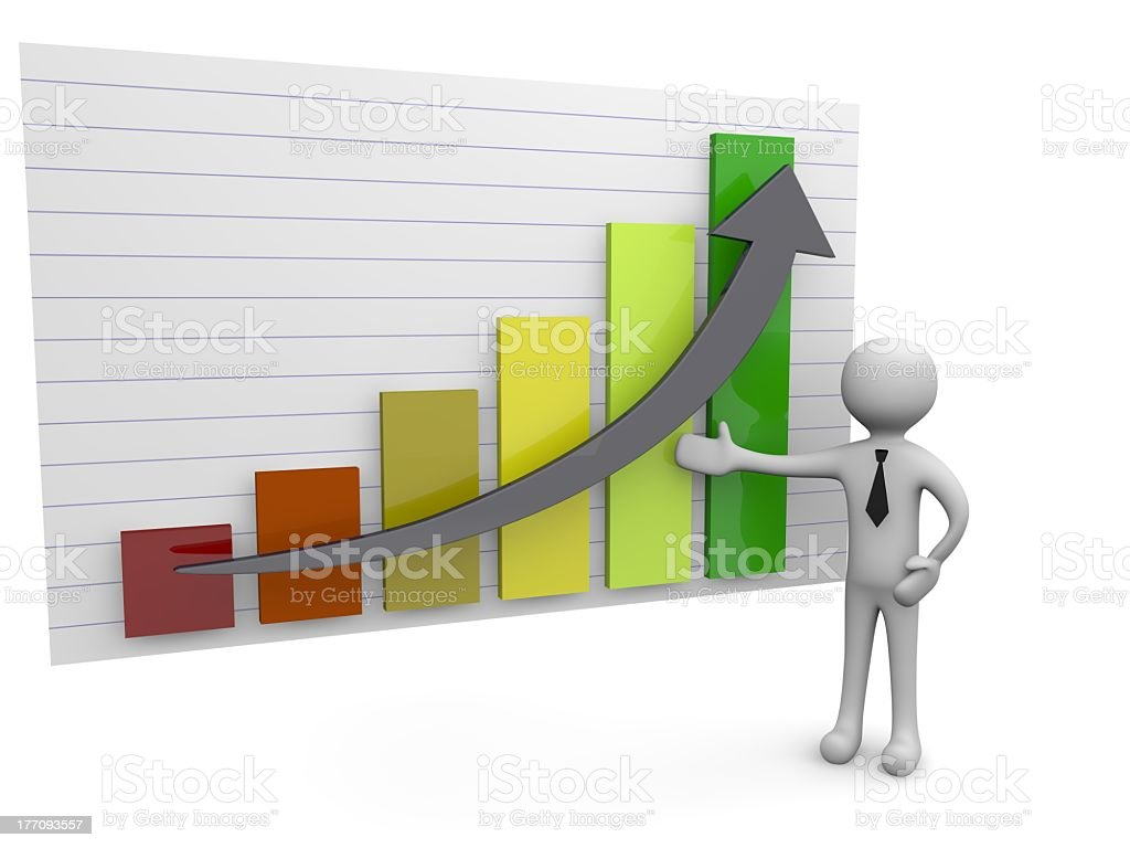 Man with a graph royalty-free stock photo