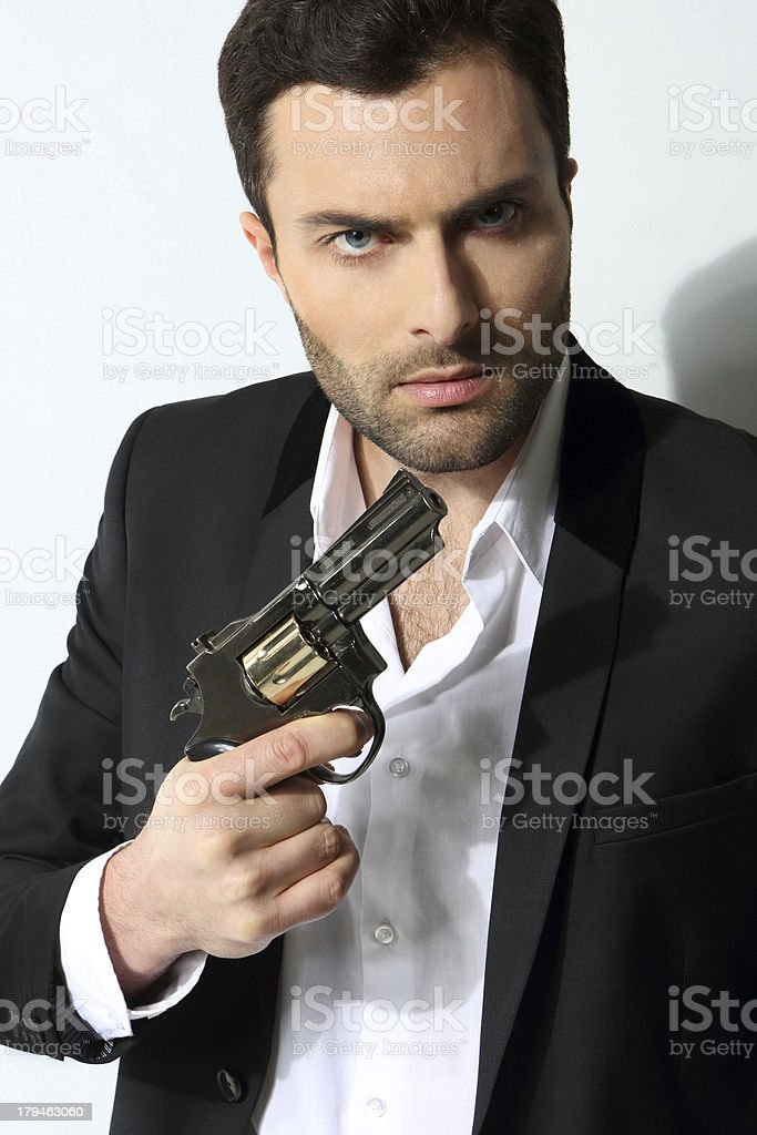 Man with a gun royalty-free stock photo