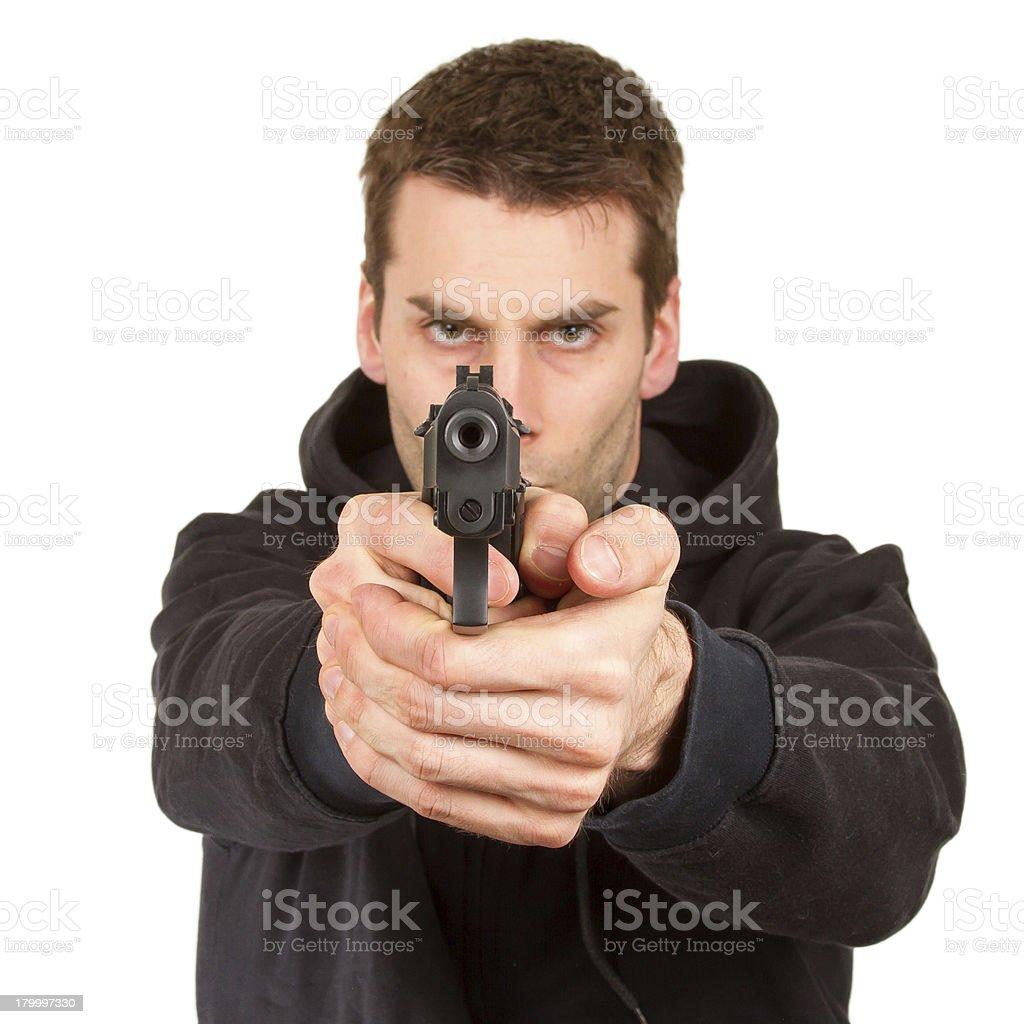 Man with a gun royalty-free stock photo