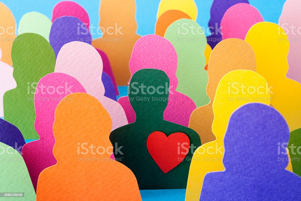 Man with a heart stock photo