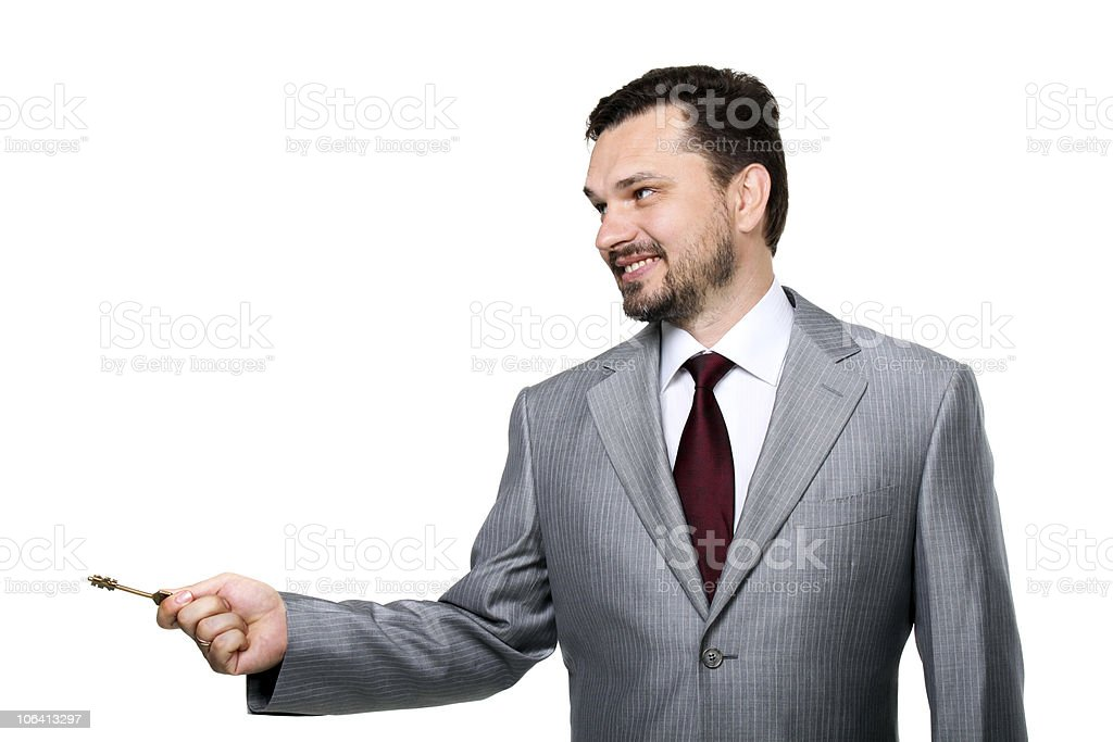Man with a key royalty-free stock photo
