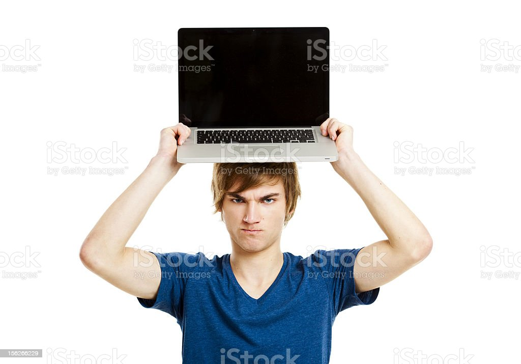 Man with a laptop royalty-free stock photo