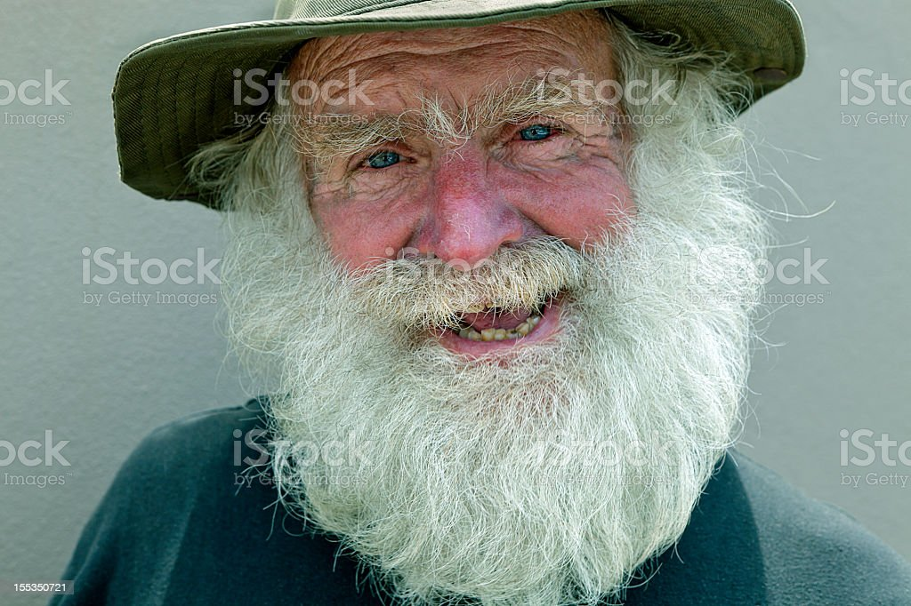 Man with a large white beard stock photo