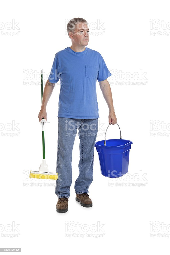 Man with a Mop and Bucket royalty-free stock photo