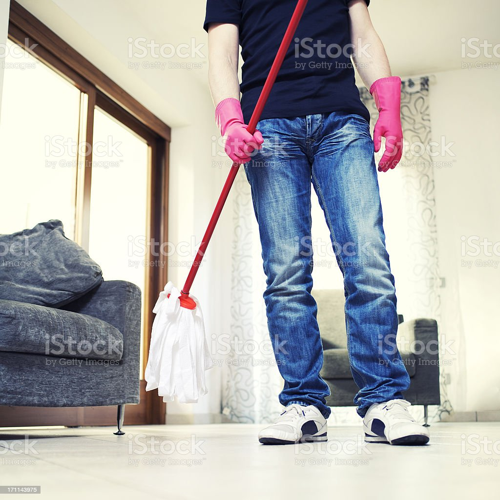 Man with a mop royalty-free stock photo