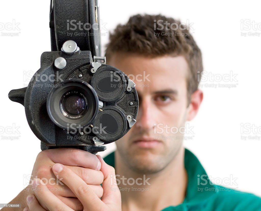 Man with a movie camera royalty-free stock photo