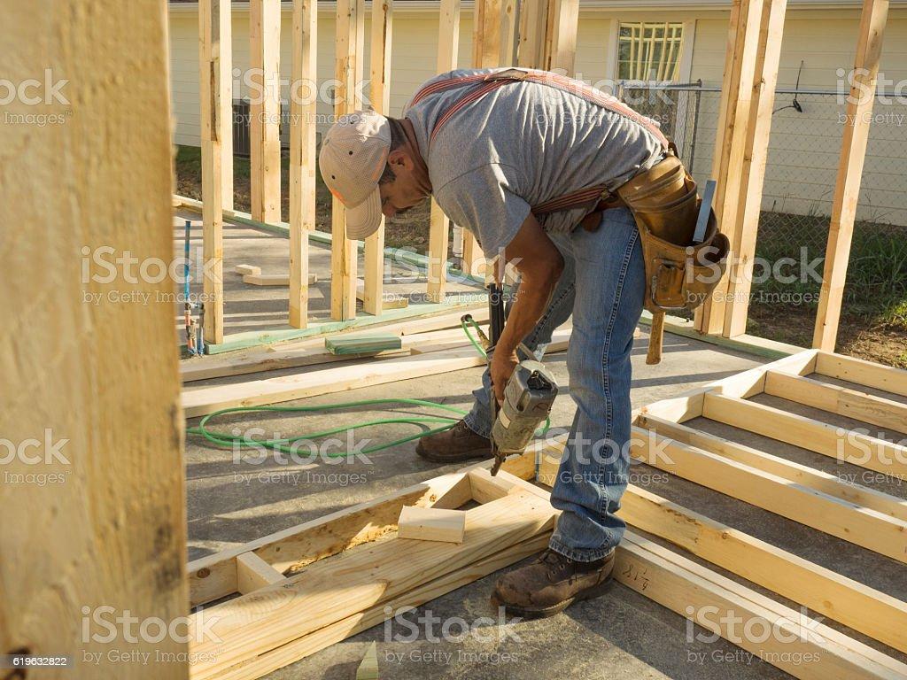 Man with a Nail Gun stock photo