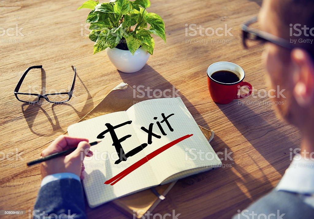 Man with a Note and Exit Concept stock photo