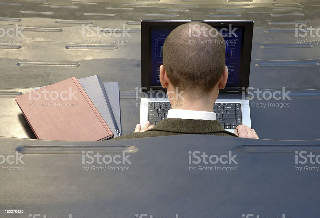man with a notebook at university royalty-free stock photo