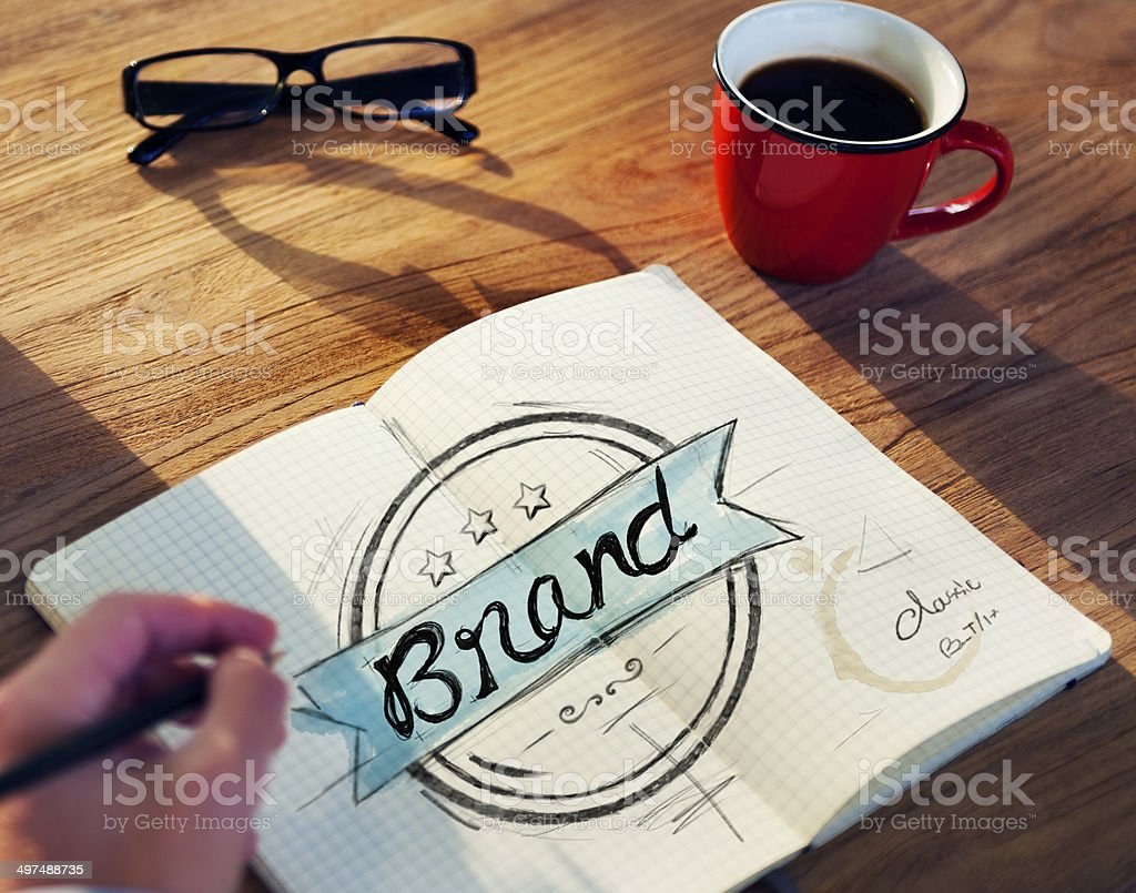 Man with a Notepaper with Brand Concept stock photo