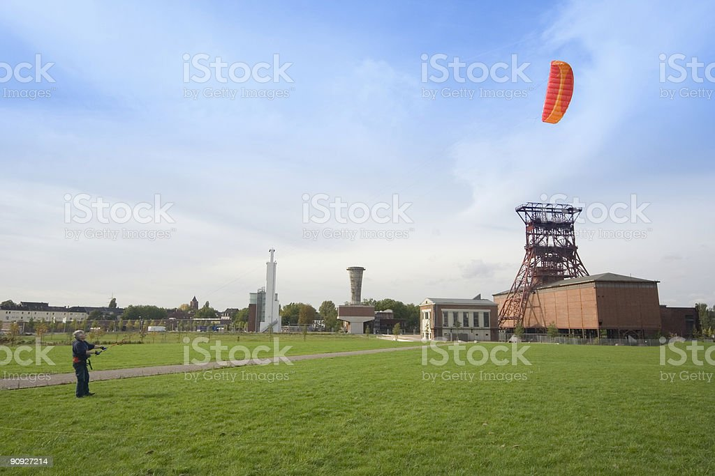man with a power kite stock photo
