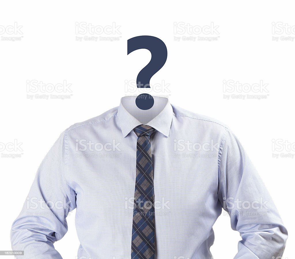 Man with a question mark as a face stock photo