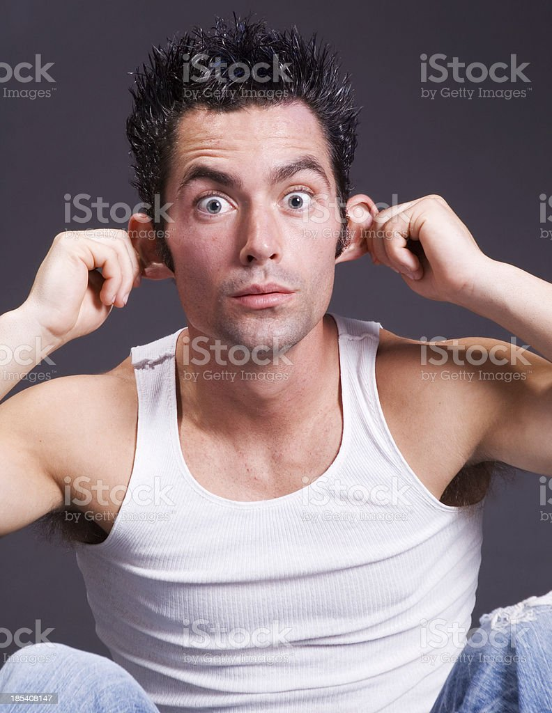 Man with a silly face stock photo