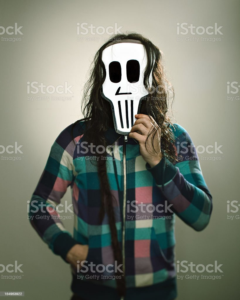Man with a skull mask stock photo