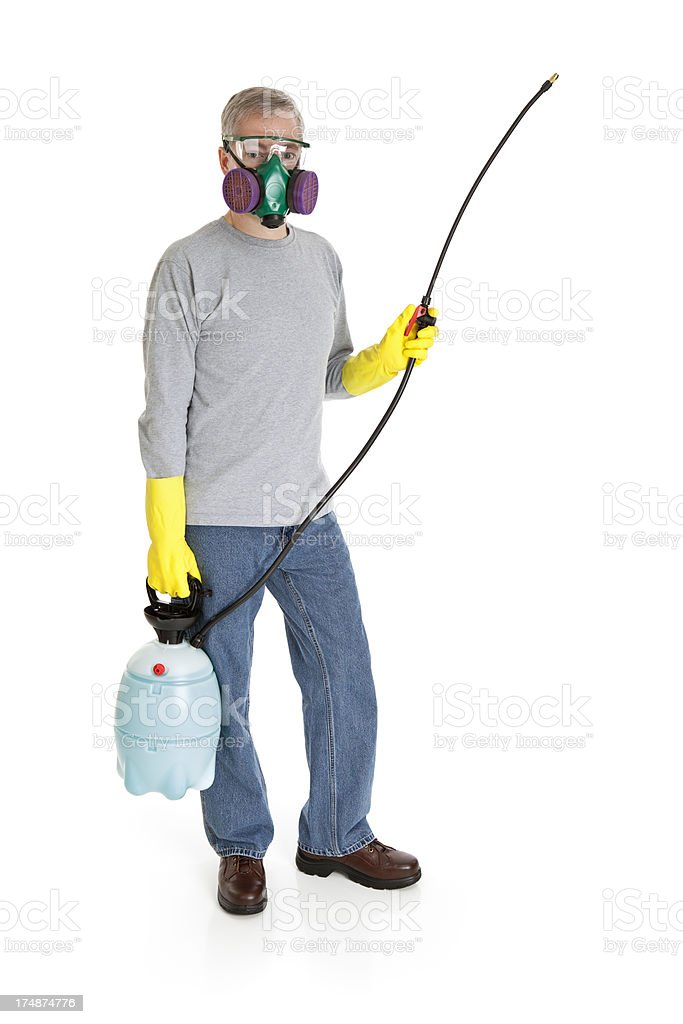 Man With a Sprayer royalty-free stock photo
