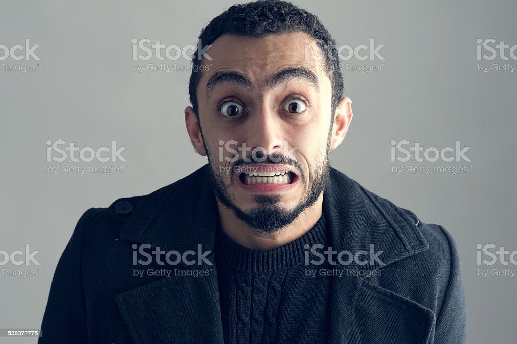 Man with a surprised facial expression, Surprise, Man Screaming stock photo