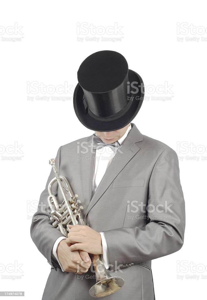 man with a trumpet royalty-free stock photo