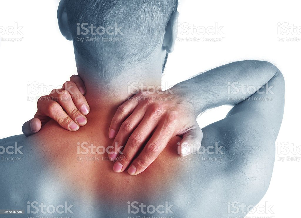 Man with acute neck pain stock photo