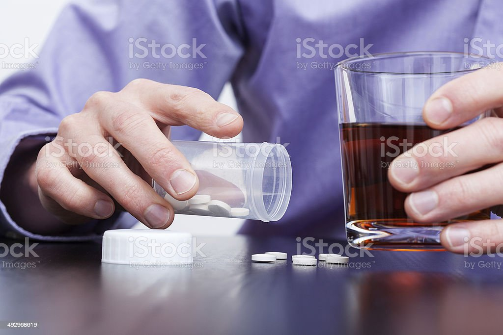 Man with addictions stock photo