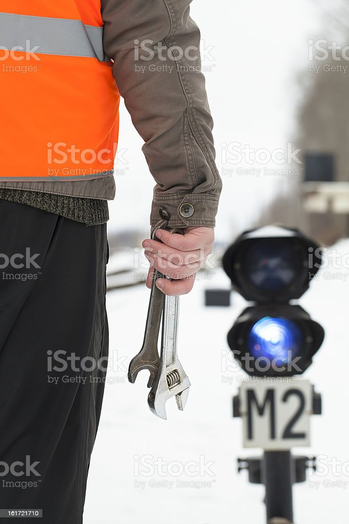 Man with adjustable wrench royalty-free stock photo