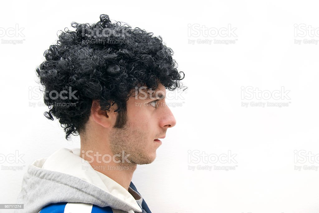 Man with afro hairstyle arrested stock photo