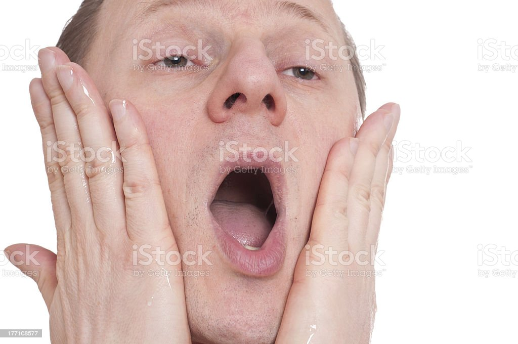 Man with aftershave have pain stock photo
