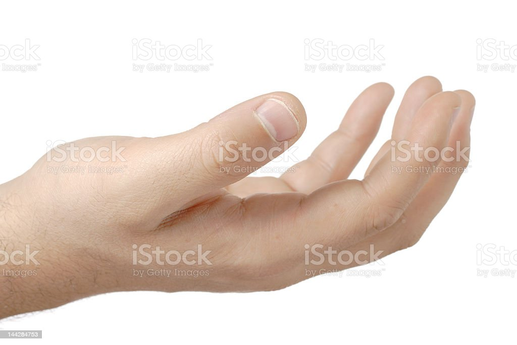 Man with an empty hand asking for help royalty-free stock photo