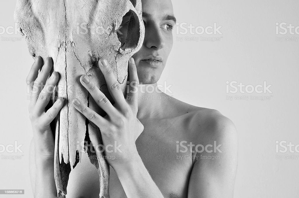 man with animal skull royalty-free stock photo