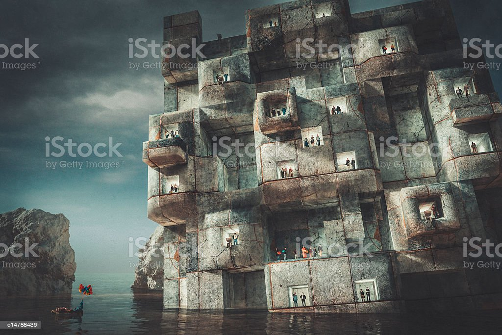 Man with animals leaving urban beehive behind stock photo