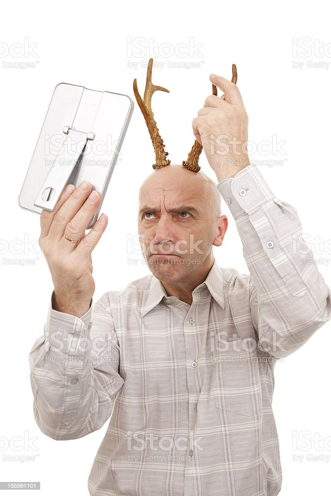 man with antlers royalty-free stock photo