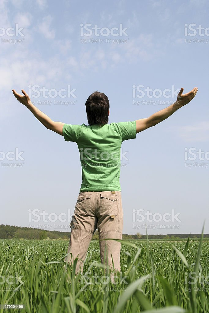 Man with Arms Outstretched royalty-free stock photo