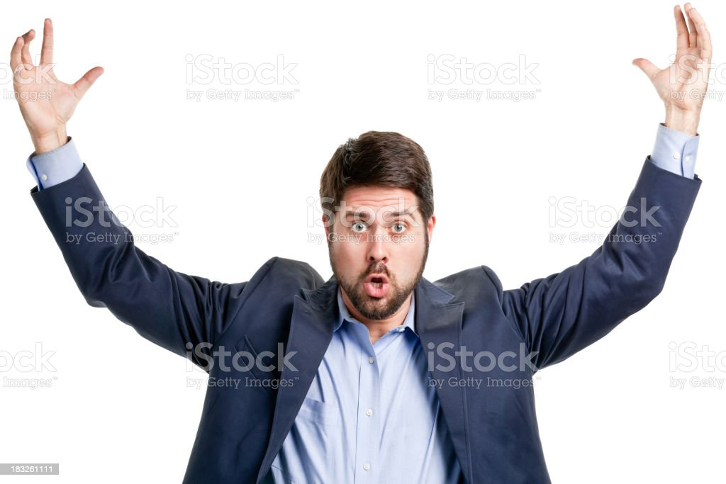 Man With Arms Up Gesturing Large Size stock photo