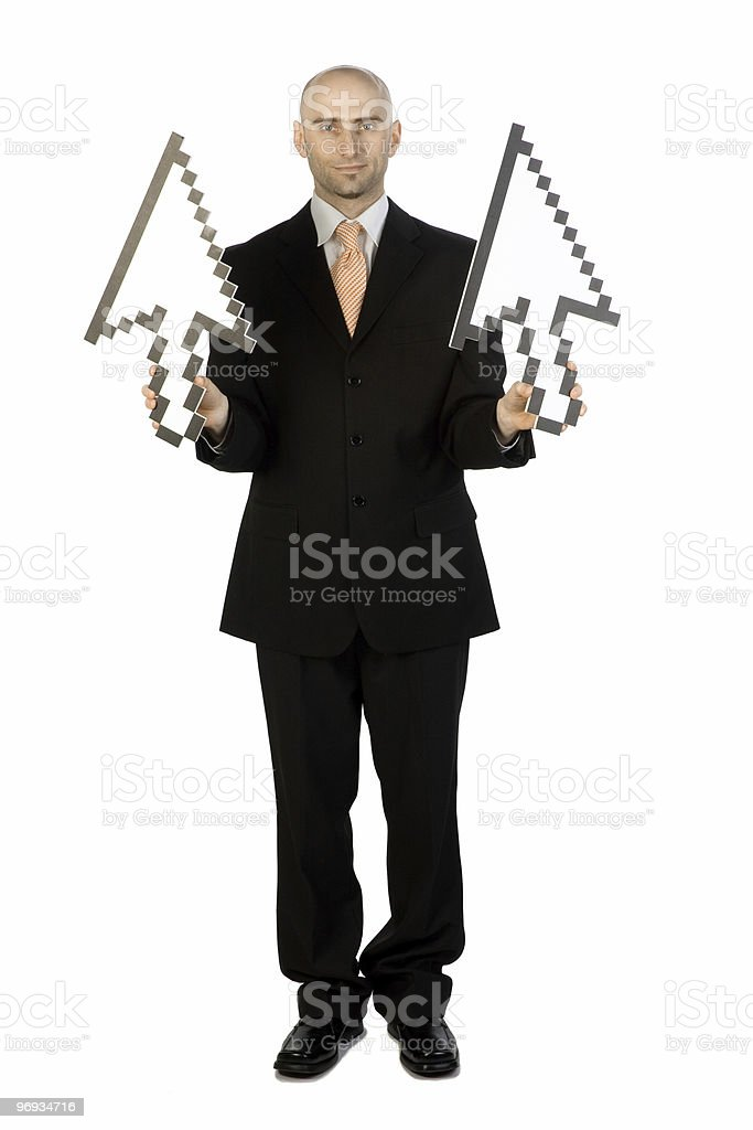 Man with Arrows pointing Up royalty-free stock photo