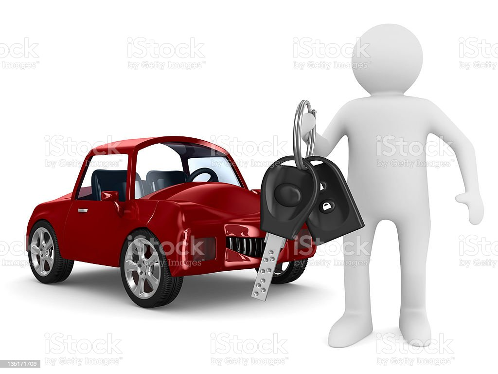 man with automobile keys. Isolated 3D image royalty-free stock photo