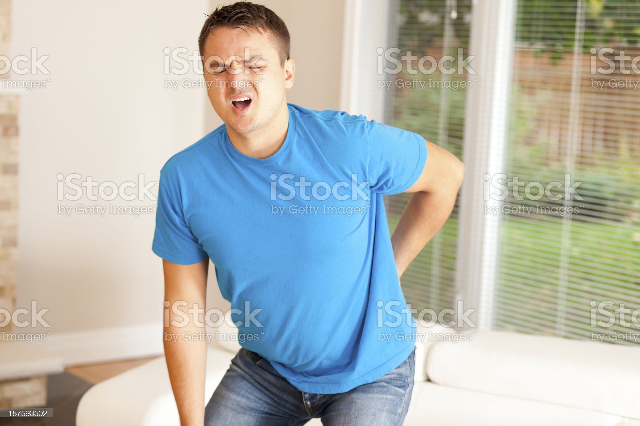 Man with back pain royalty-free stock photo